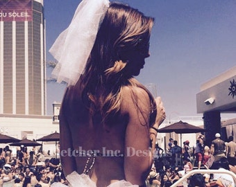 Bachelorette Party Veil Vegas Great For A Pool Party, Beach, Club, Dancing,Bridal Party, Bride to be.