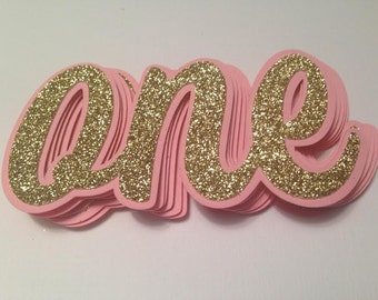ONE Die Cuts ~ Pink & Gold Glitter ONE Cut Outs ~ Birthday Party Decor, First Birthday Favor Tags, Decorations, Pink Birthday Party