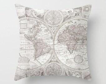 World Map Pillow - soft gray Map of the World throw Pillow-  travel Decor - modern home, apartment, dorm, wanderlust