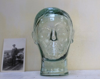 Vintage Clear Glass Male Mannequin Head, Vintage Store Display Mannequin Head