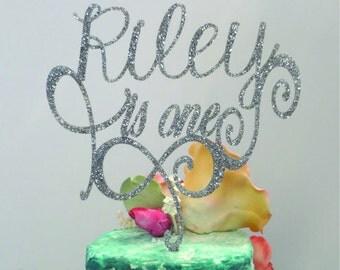 8 inch Turning One Cake Topper - 1st Birthday, Birthday