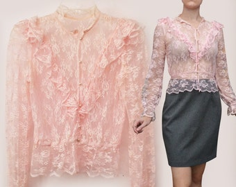 Victorian Lace Blouse (Size S Small) Floral Romantic Long-Sleeved Button-Up Victorian Blouse Top Shirt See-through Pink Blouse