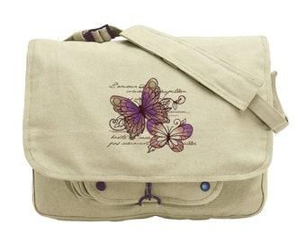 Butterfly Bag, Parisian Butterflies Embroidered Canvas Messenger Bag