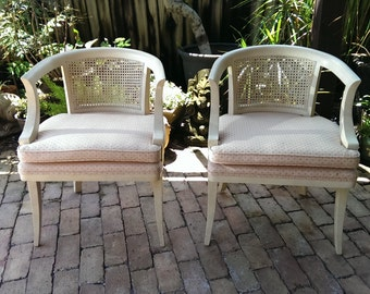 Pair Of Palm Beach Regency Cane Back Chairs