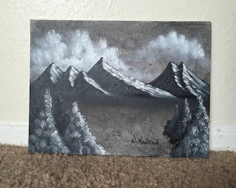Monochrome Mountain Range (Mountain Ridge) with Trees Painting