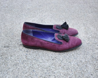 maroon smoking slippers / purple suede loafers / cord tassel flat shoes 7