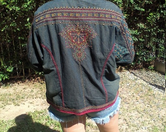 Chico's, embroidered denim coat ,large,studded,jacket, Free US shipping