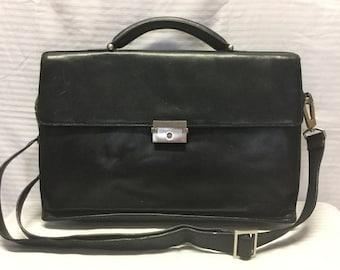Kenneth Cole Black Leather Briefcase Organizer Bag