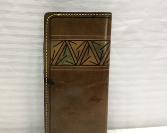 Tooled Leather Wallet ,brown leather wallet,Organizer