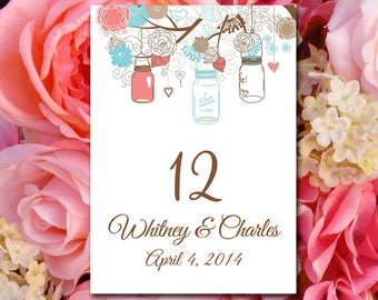 Rustic Wedding Table Number Template Download - Mason Jar Table Number Beach Coral Pale Malibu Turquoise - Wedding Seating Flat Table Number