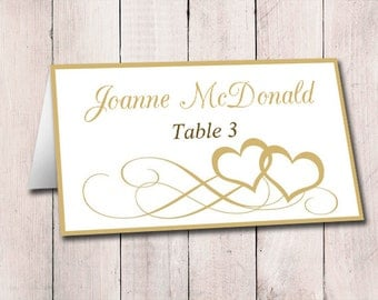 fold over wedding place card template kraft by paintthedaydesigns. Black Bedroom Furniture Sets. Home Design Ideas