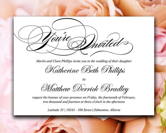 Calligraphy Wedding Invitation Template Black White – You Are Invited Template