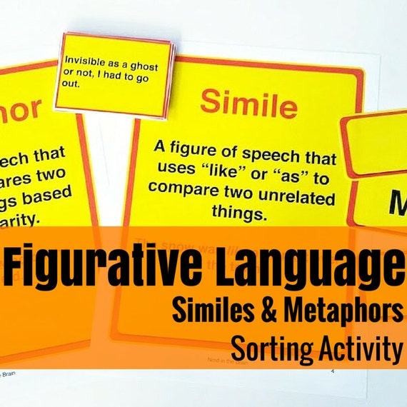 Simile and Metaphor Sort Language Arts Activity