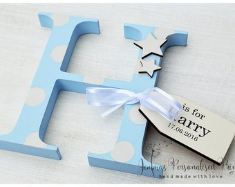 Freestanding Wooden Letter New Baby Christening Gift