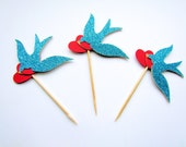 Sparrow / Swallow / Heart / Cupcake Toppers / Food Picks - Set of 12