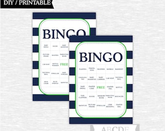 Instant Download Green and Navy Nautical Boy Baby shower Game, Traditional Bingo 30 Cards DIY Printable (PDNMO002)