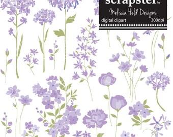 Digital Purple Hand Drawn Flowers 2