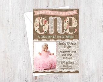 Pink 1st birthday invitations, burlap photo card for 1st birthday, shabby 1st birthday photo invites, burlap lace pink invitation, PRINTABLE