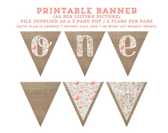 Spring 1st birthday banner, peach floral ONE banner, shabby high chair banner, printable highchair banner, photo prop banner, boho chic bday