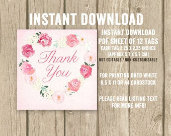 DIGITAL DOWNLOAD, pink favor tags, bridal shower thank you tags, girl baby shower favor tags, floral heart thank you tags, print yourself