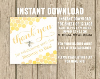 DIGITAL DOWNLOAD, mommy to bee favor tags, Mom to bee favor tags, babee shower favor tags, ba-bee baby shower tags, honeycomb, print at home