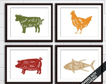 Beef, Chicken, Pork and Fish (Butcher Diagram Series) - Set of 4 - Art Prints (Featured in Tuscany Style Colors) Kitchen Prints