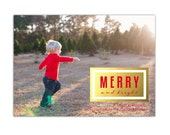The Thomas Family Custom Luxe Holiday Card (Merry & Bright, Photo Christmas card, family photography, printable 5x7 gold holiday card)