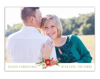 Printable Floral Christmas Card with Photo // Folk Floral Holiday Photo Card