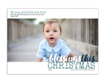 Christmas Card // Scripture Christmas Card // Photo Holiday Cards // 5x7 Printable photo Christmas Cards // Holiday Card // The Martinez