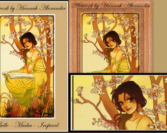 Belle - Mucha-inspired - Artwork by Hannah Alexander - cross stitch pattern - PDF pattern - Instant download!
