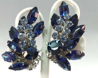 1960s Huge Vintage Blue Rhinestone Clip On Climber Statement Earrings