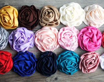 "YOU PICK COLORS - Large Satin Roses - 3"" Large Satin Rolled Flowers - Wholesale Lot - Satin Rolled Rosettes - Fabric Flowers Wholesale"