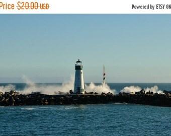 ON SALE Beautiful Lighthouse, Ocean Waves, And Sailboat in Santa Cruz, CA, Nautical Photography, Ocean Photography, Litghthouse Art, 8 x 12