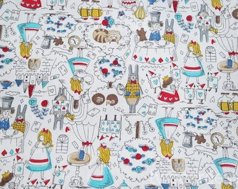 By 1/2 yard Alice in the wonderland Cotton canvas
