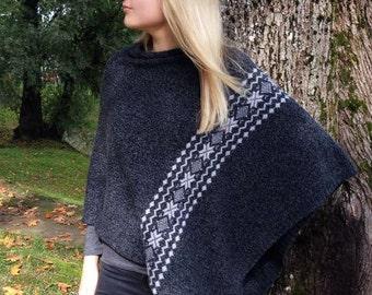 Knit Cape Pancho Gray Pancho Gray Scarf Knit Shawl Modern Clothing Accessories Scandinavian Poncho Latvian design Folk