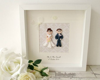 Personalised Wedding Framed Fimo Figures Gift
