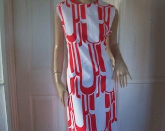 Rare Authentic Vintage 60's Lanvin Paris/New York Striking Red/White Mod/Mad Men/Retro Dress Sz 14/16