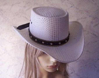 Santa Nino Rare Authentic Vintage Moulded White Weave Sombrero/Cowboy Hat SZ 53