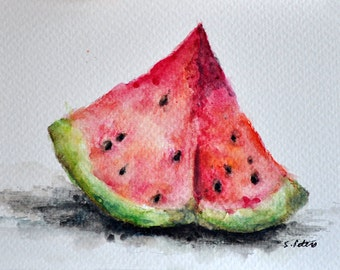 ORIGINAL Watercolor Painting, Watermelon Still Life Painting 4x6 Inch
