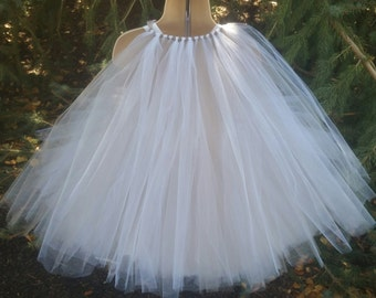 White & Silver Tulle Cape On Ribbon