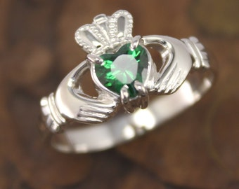 Ladies claddagh ring, sterling silver real Irish jewelry with sparkling Green Cubic Zirconia