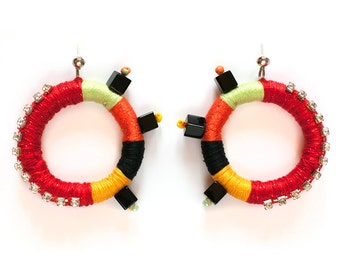 Rope Statement Earrings, Big Colorful Tribal Earrings, Thread Wrapped Earrimgs, Rope Statement Jewelry