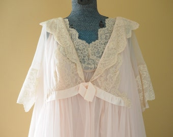 Vintage Lace Pink Chiffon Two Layer Babydoll Lingerie