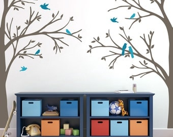 Woodland Nursery 2 Corner TREES Wall Decal Decor Wall Decal Forest Birds Vinyl Baby Bedroom