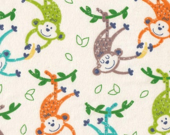 Monkeys and Bananas Flannel Fabric - Sold by the 1/2 Yard