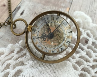 Rotating Orb Watch Time Turner Spinning Round Brass Pocket Watch Necklace Glass Bubble Snitch Pendant Bronze Chain Included Antique Bronze