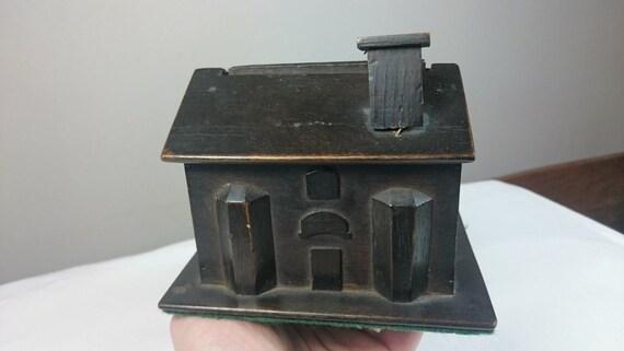 Antique Miniature Wooden Doll House Money Box Bank Primitive