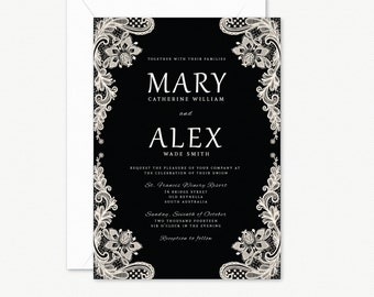 Black and White Lace Wedding Invitation Suite, with RSVP Card, Belly Wrap and Wishing Well Card