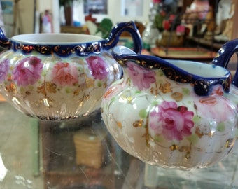 English Porcelain Hand Painted Creamer & Sugar Set