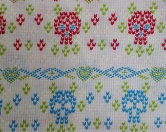 Sugar Skulls - Lightweight Jersey Thermal Rib Knit Fabric